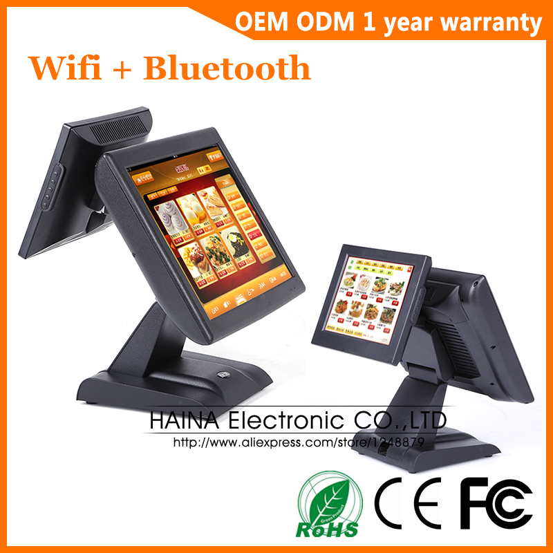 Haina Touch 15 inch Wifi Touch Screen Restaurant POS System Dual Screen POS Machine with MSR Card Reader-in LCD Monitors from Computer & Office