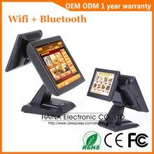 Haina touch 15 polegada wifi tela de toque restaurante sistema pos tela dupla máquina da posição com leitor cartão msr