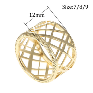 Image 2 - Cremo Liens Gild Finish Hollow Rings Set for Woman Band Reversible Insert Finger 12mm Wide Ring Jewelry Elegant Stylish Bijoux