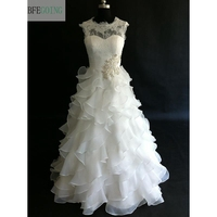 Ivory Lace Organza Sleeveless Floor Length A Line Wedding Dress Tiered Beading Real Original Photos Custom