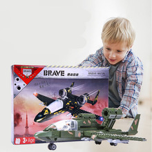 Boy Aircraft Military Assembling Spell Inserting Blocks Model Series Children's Educational Toys Exercise Hands and Eyes trumpeter 02341 soviet military model 52 k 85 anti aircraft guns 1939