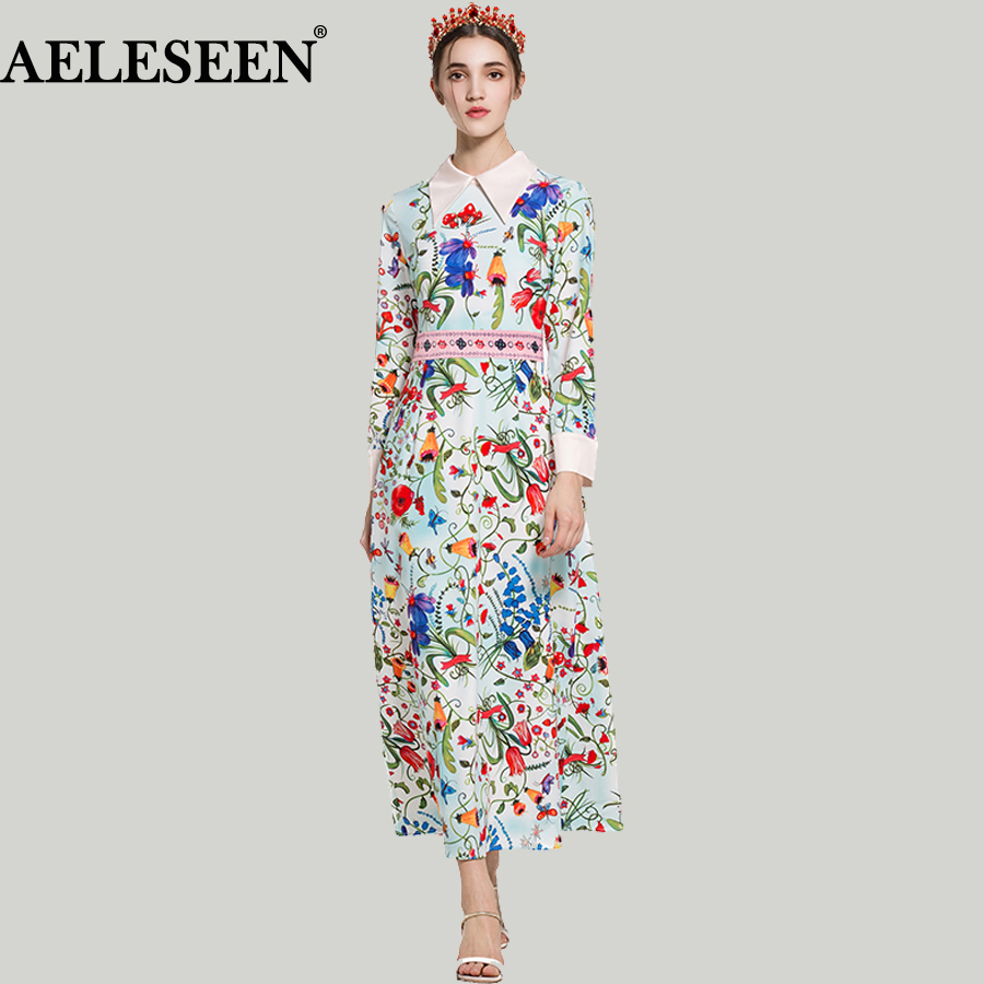Luxury Runway Long Dresses High quality Full Sleeve 2018 Turn-down Flowers & Birds Early Spring Floral Print Elegant Dress