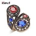 Kinel Einzigartige Blau Kristall Ring Alte Gold Farbe Vintage-Look Doppel Kopf Ringe Für Frauen Böhmen Schmuck 2018 Neue