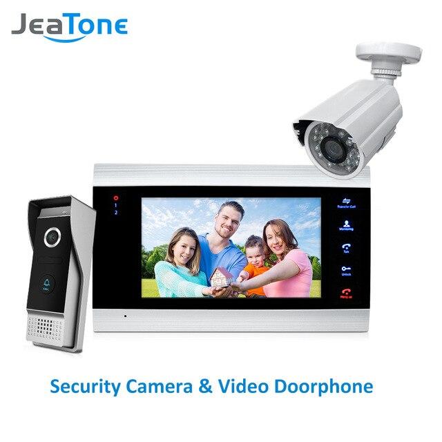 JeaTone 7 pouce Vidéo Porte Téléphone Interphone Vidéo 1200TVL Appel Extérieure Panneau + 1200TVL Analogique Caméra Système de Contrôle D'accès Sonnette