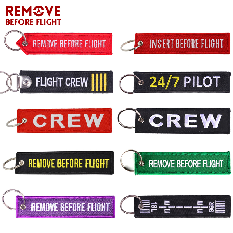 Luggage Tag Remove Before Flight Embroidery Keychains Travel Accessories Fashion Bag Tags Keyring For Aviation Gifts