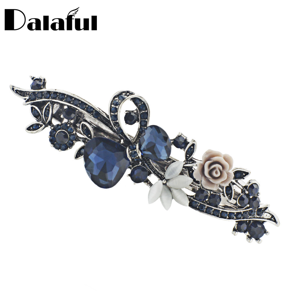 Dalaful Opals Resin Blomst Hårklemme Barrette Bowknot Hårnål Hodetøyer Tilbehør Gift For Woman Girls 3 Colors F141