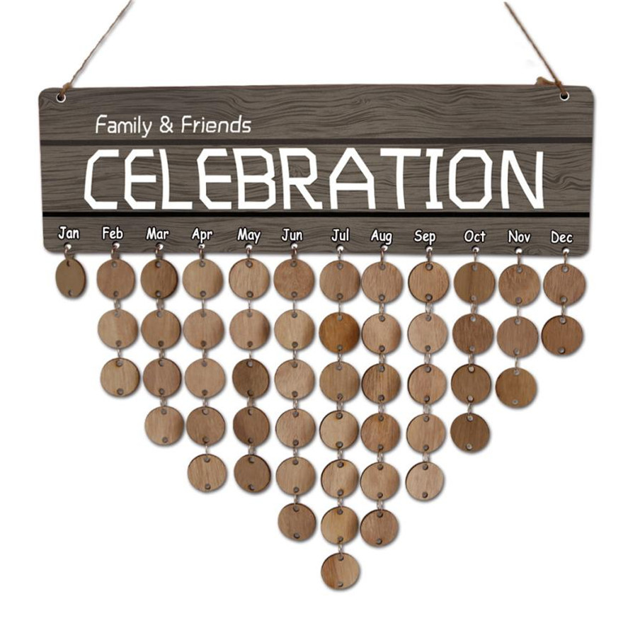 New Wood Hanging Decoration 1pc Creative CELEBRATION Wood Birthday