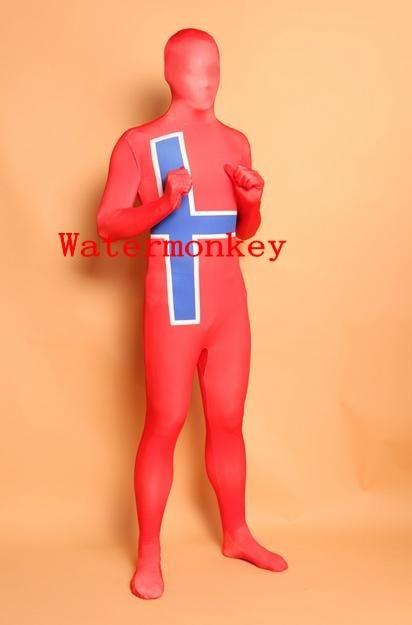 Sweden Flag Zentai Second Skin Suit Fancy Dress Costume Spandex Lycra