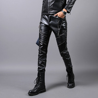 Spring And Autumn 2017 New Men S Leather Trousers Personality Zipper Men S Pants Locomotive Fashion