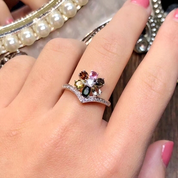 Natural Multicolor tourmaline Ring S925 Silver Natural Gemstone Ring Fashion big flower Receptacle Women party gift  Jewelry