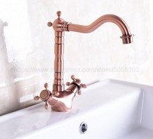 Basin Faucets Antique Red Copper Bathroom Sink Faucet 360 Degree Swivel Spout Double Cross Handle Bath Mixer Taps znf255