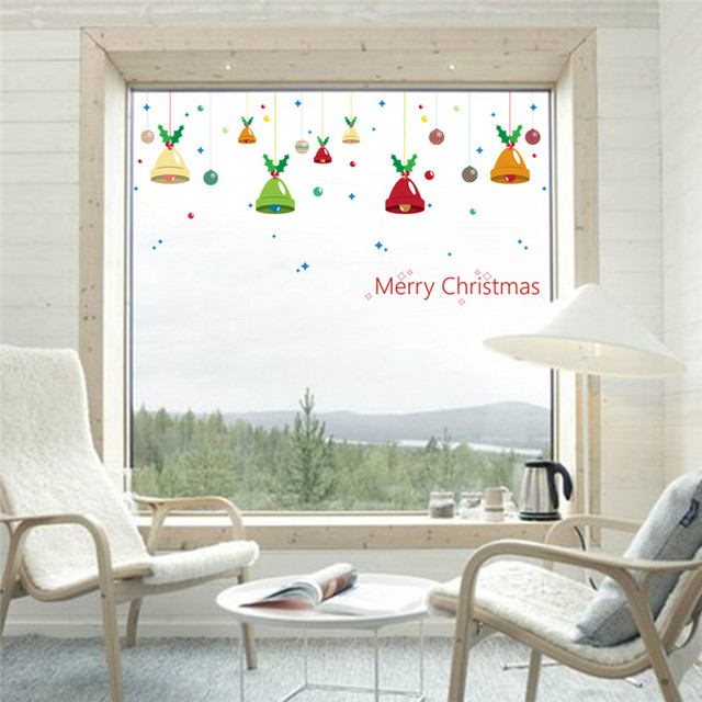 Merry Christmas Bells Wall Stickers Living Room Shop Glass Decoration Diy Home Decals Festival Xmas Mural Art