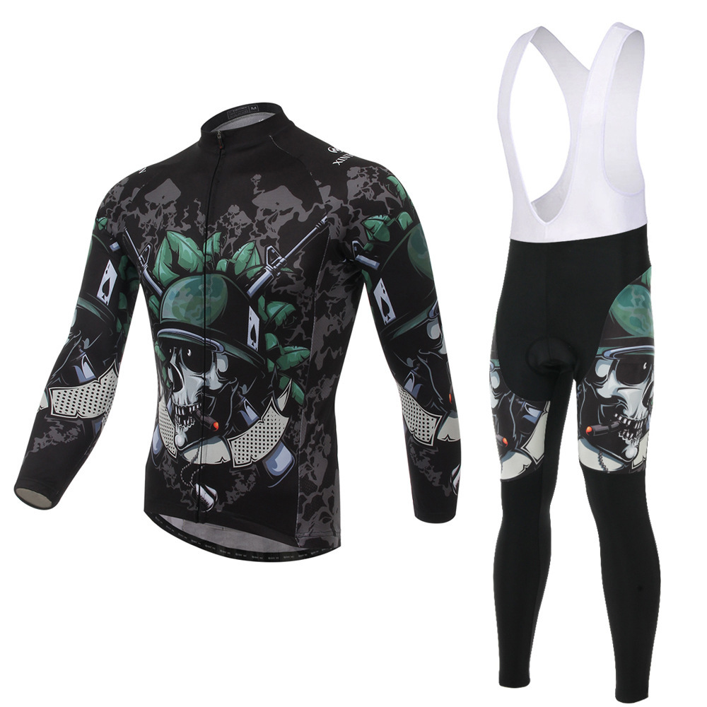 XINTOWN Skeleton Soldier Bicycle Riding Jersey Gear Long Sleeve Suits Wear Bike Fleece Windproof and Warm Functional Clothes