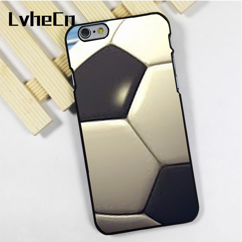 LvheCn phone case cover fit for iPhone 4 4s 5 5s 5c SE 6 6s 7 8 plus X ipod touch 4 5 6 Soccer Ball Football Black