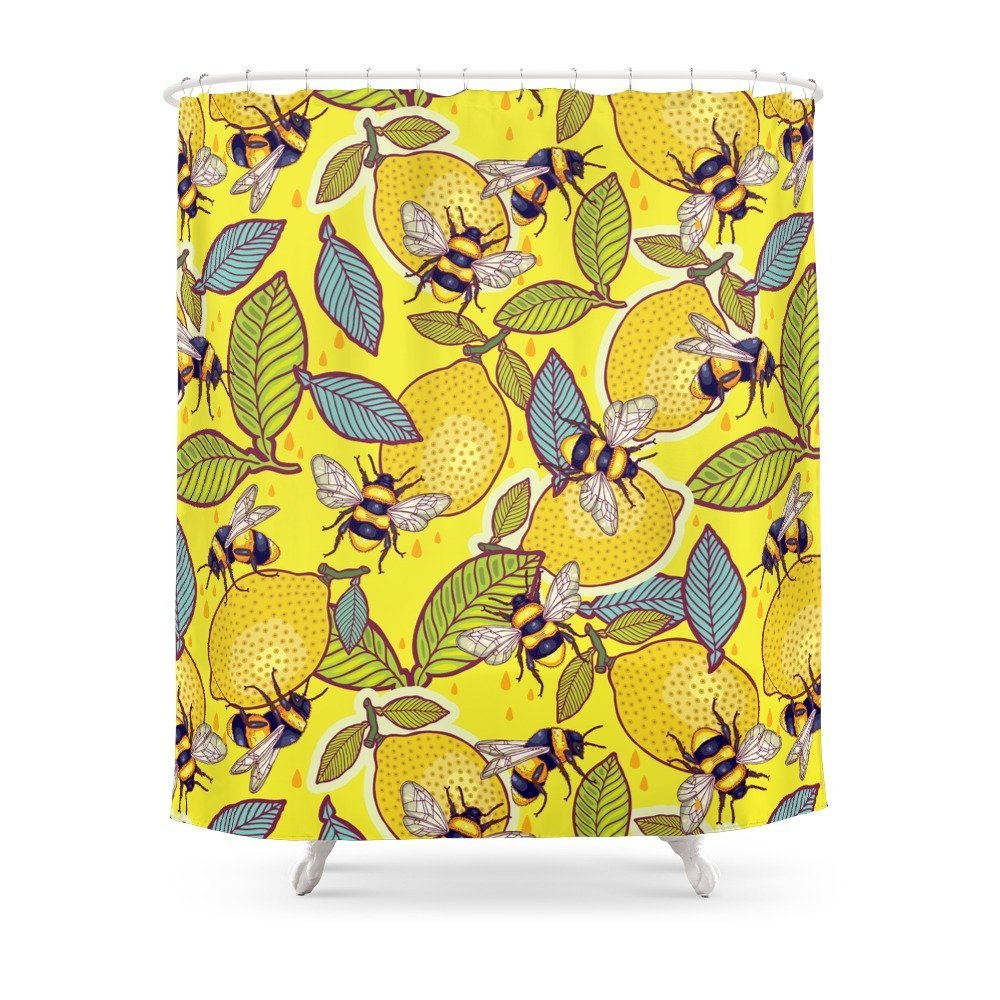 Yellow Lemon And Bee Garden Shower Curtain Waterproof Polyester Fabric Bathroom Decor Multi Size Printed