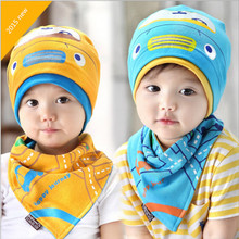 new 2016 girls hats spring autumn infant cotton hat baby bandana scarf set bib yellow blue turban baby hats for boys newborn cap
