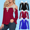 Women's Fashion Sexy Lace Patchwork Off Shoulder V Neck Long Sleeve T-shirt