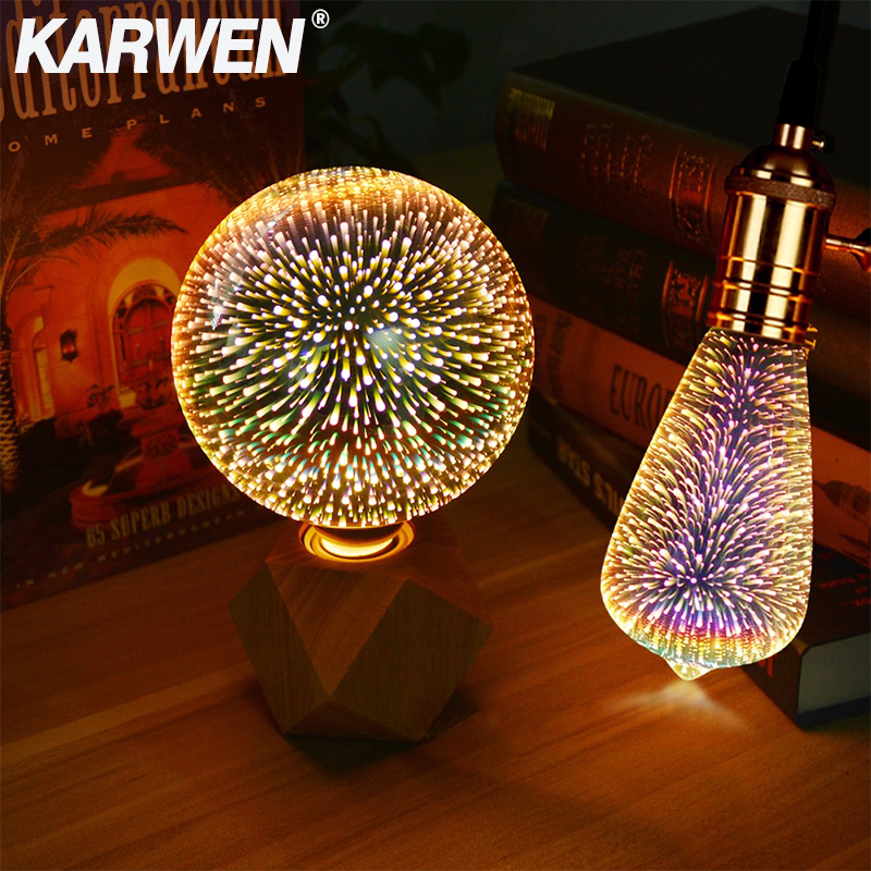 3D LED Edison Bulb E27 Vintage Decoration 110V 220V Dimmable LED Filament Lamp Copper Wire String Replace Incandescent Light