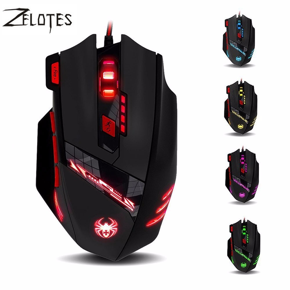 Zelotes T90 T-90 9200DPI 8 Buttons Computer Mouse Optical USB Wired Gaming Mouse Professional Game Mice for Laptops Desktops wfirst x300 wild eagle professional competitive game mouse laser 2500dpi usb wired gaming mice led backlit changeable white