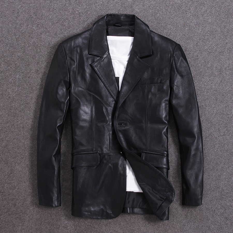 Free Shipping.man Casual Leisure Suit,Plus Size Brand Soft Sheepskin Leather Jacket,mens Genuine Leather Business Jacket.