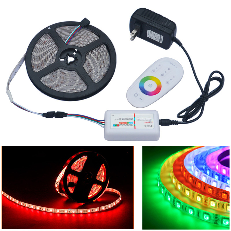 ФОТО Jiawen 5M RGB 5050SMD LED Strip light 60Leds/m + 2A DC12V Power Adapter Transformer + 2.4G RF Remote Controller