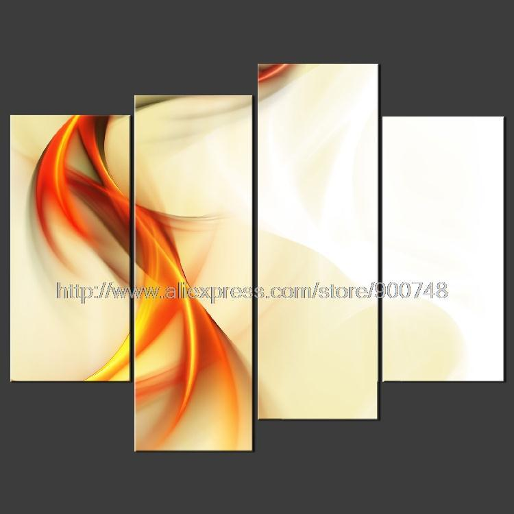 Abstract Orange Waves Cascade Poster Modern Many Sizes Oil Painting ...