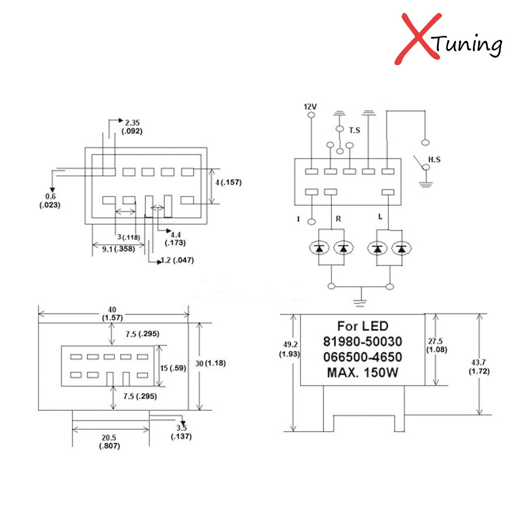 8 Pin 81980 50030 066500 A Speaker Wiring Diagram For 2000 Jeep Led Flasher 2 Circuit 1 Piece Adjustable 4650 Assy