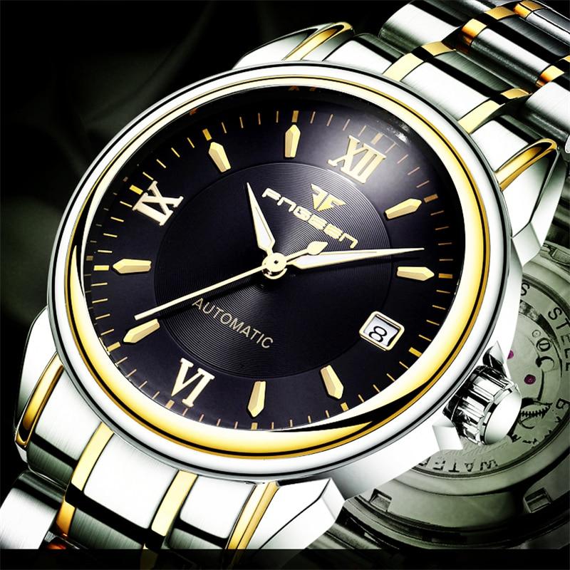 FNGEEN Brand Men Watch Mechanical Automatic Wrist Watch Gold Stainless Steel Clock Calendar Time Business Sports Hour Wristwatch цена