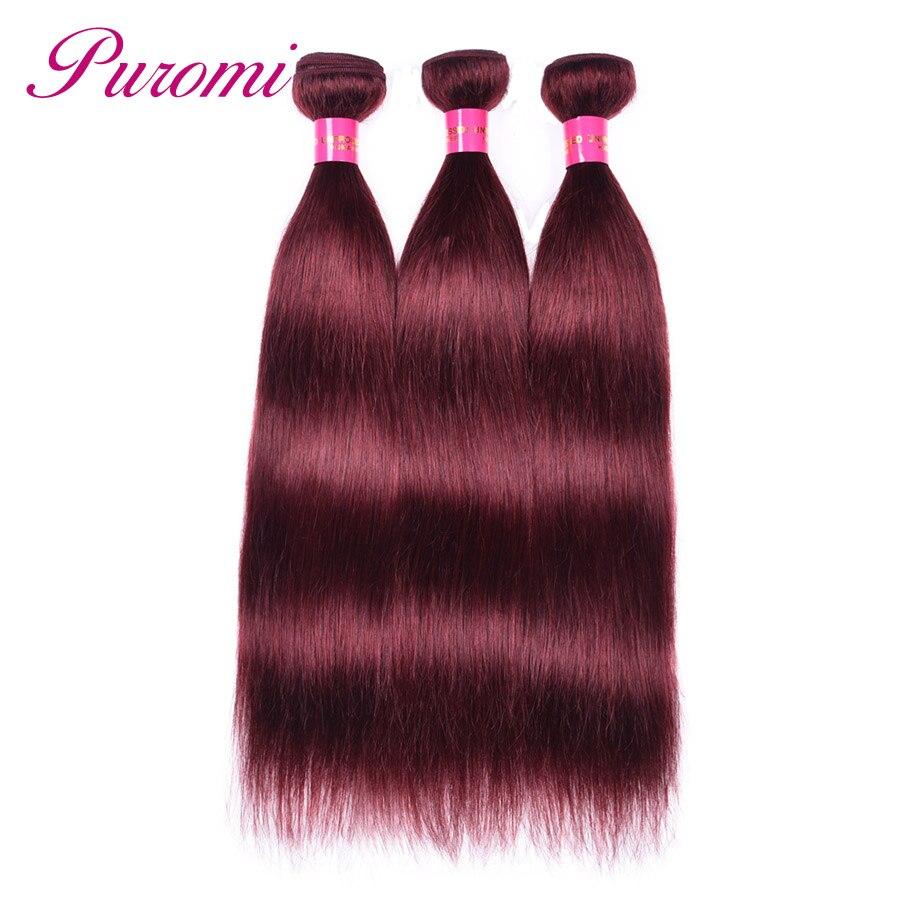 Puromi Brazilian Bundles 3 Bundles Straight Hair 99j Human Hair Extensions Double Weft 3pcs/lot Hair Weave Non Remy
