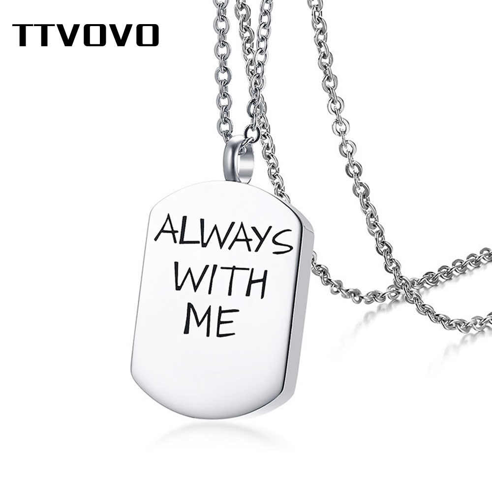 "TTVOVO Urn Necklaces for Ashes ""ALWAYS WITH ME"" Dog Tag Stainless Steel Cremation Jewelry Memorial Keepsake Pendant Necklace"