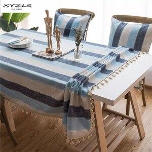 XYZLS синяя полосатая Скатерть прямоугольная скатерть для кухни, дома, свадьбы, вечеринки, стола с кисточкой, 1 шт.