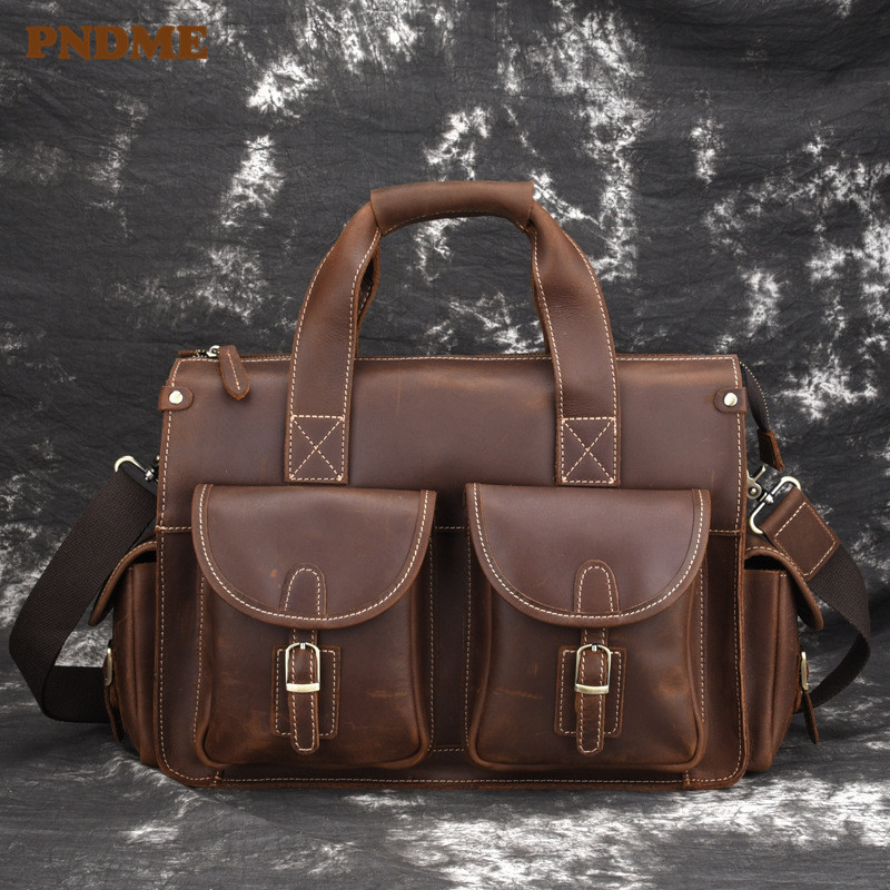 PNDME High Quality Crazy Horse Cowhide Men's Briefcase Vintage Designer Simple Multi Pocket Genuine Leather Office Laptop Bag