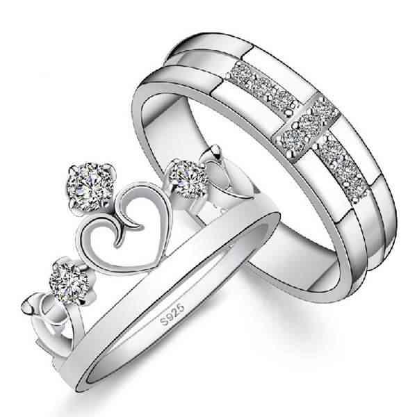 2016 cz טבעת זוג נחמד vashiria רומנטי תכשיטי אופנה נחמדים מצופה זהב 925 כתר קיסרי & טבעת מאהב צלב j412