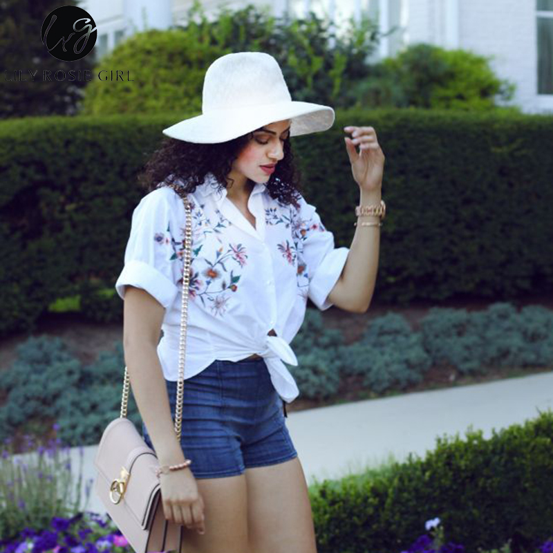 Lily Rosie Girl Casual Floral Embroidery   Blouse     Shirt   3/4 Sleeve Women Autumn   Shirts   2017 Winter Retro Chemise Femme Tops Blusas