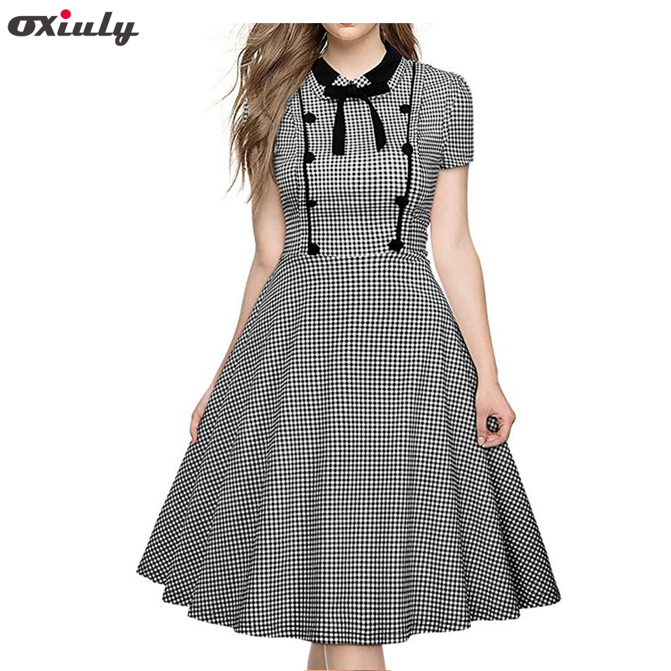 Oxiuly Ženy Retro šaty Klasické černé Bílé Gingham Swing šaty Bow Pin up Robe 60s 50s Rockabilly Plaid A-Line Šaty  t