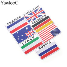 3D Aluminum Italy Germany France Russia Australia United States Map National Flag Car Sticker Car Styling CT6256