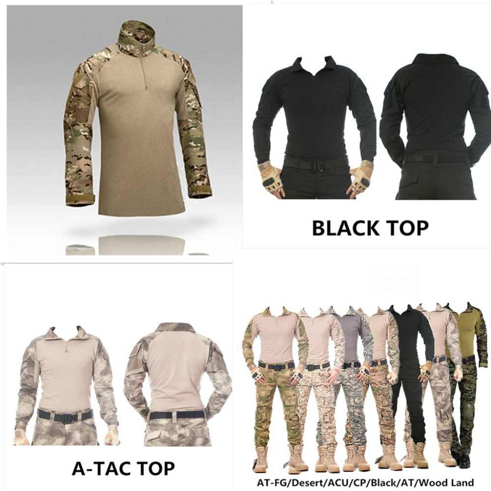 dfba25367cd37 Camouflage military uniform us army combat shirt cargo multicam Airsoft  paintball militar tactical clothing with knee