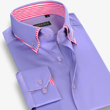 2017 Spring Males's Double Layer Collar Button-Down 100% Cotton Informal Costume Shirts For Males Lengthy Sleeve Slim Match Informal Shirts