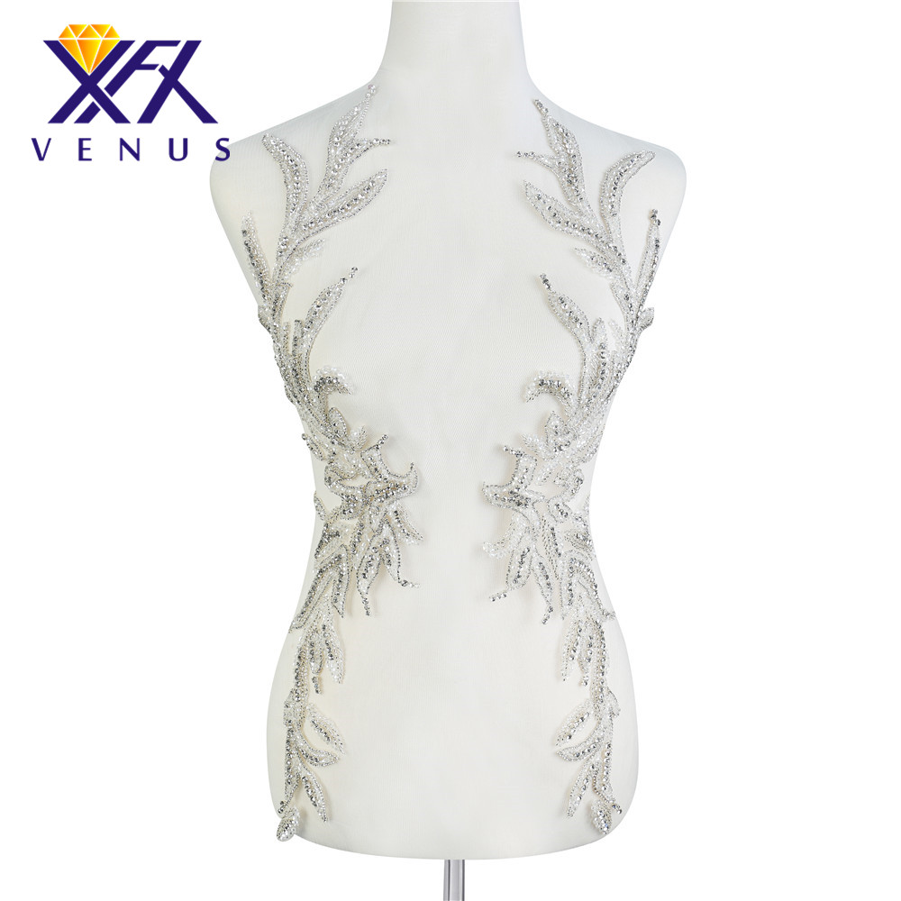 XINFANGXIU Hot Sale Sliver Beads Rhinestone Patches Flower Leaf Crystals Applique With Wedding Dresses Decoration Accessories
