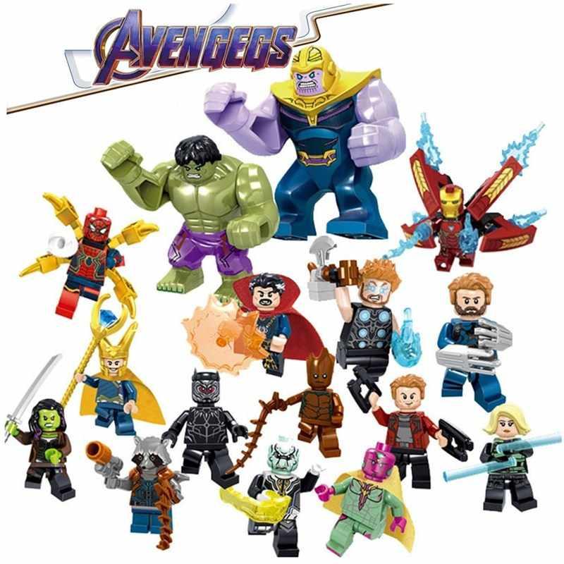 16 pçs/set Vingadores Endgame LegoING Minifigured Modelo Homem De Ferro Marvel Thanos Blocos de Construção Figuras de Ação Crianças Brinquedos LE34044