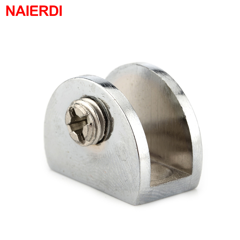 4PCS NAIERDI Half Round Glass Clamps Plane Zinc Alloy Shelves Support Two Hole Corner Bracket Clips For 8mm Furniture Hardware 8pcs round shelves support brackets clamps clips for 4 6mm glass wooden acrylic adjustable screw fix for wood glass acrylic