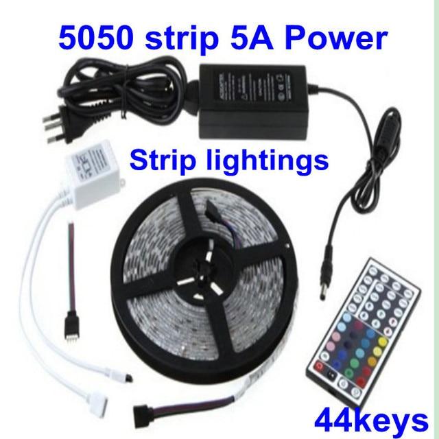 5M RGB SMD Led 5050 300 Waterproof Flexible LED Strip 60 leds/Meter+ 44 key IR Controller+5A Power+a Anti-Static Bag