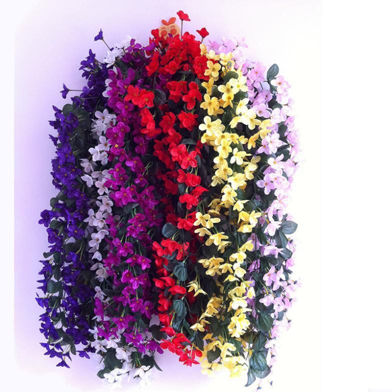 2 pcs violet flower vine wedding home decoration silk for Artificial flowers decoration home
