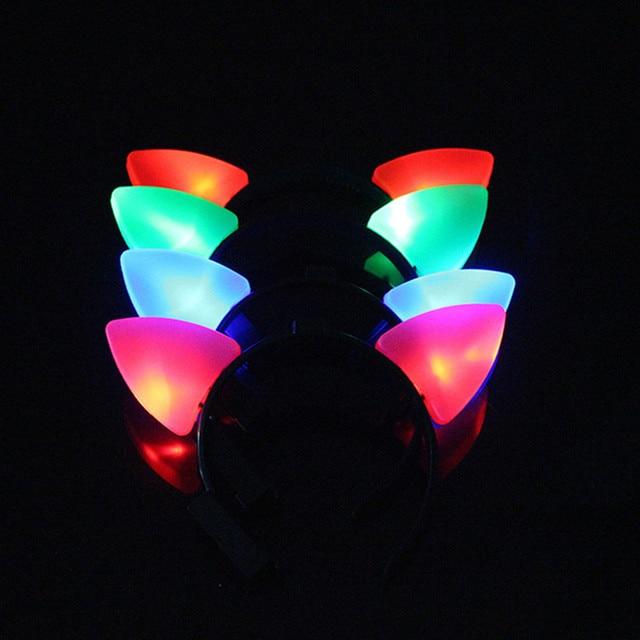 LED Flashing Light Cat Animal Ear Headband For Women Girl Glowing Headwear  Party Hair Halloween Christmas e3e1885f32ad