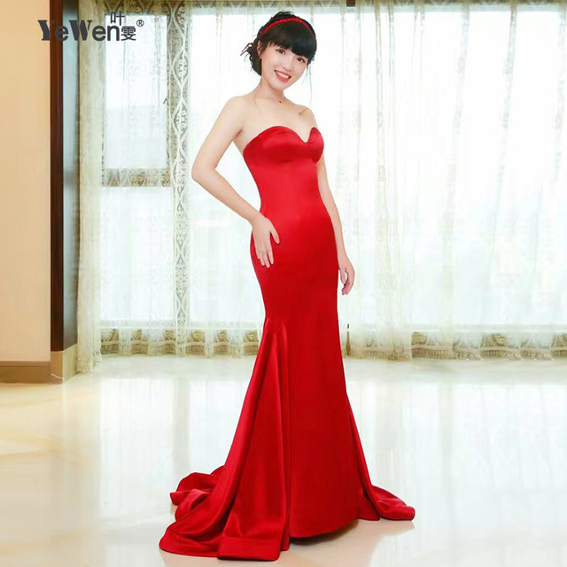 newest 6d367 28cf8 US $136.0 |Robe De Soiree Sirena Abiti Da Sera lunghi 2018 Foto Reali  Colore rosso di Seta raso backless Occasione Partito Formal Dress Prom  abito in ...