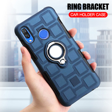 Cover For Huawei Nova 3 3E Silicone Shockproof Phone Case Luxury Anti-Fall Armor Back Ring Stand