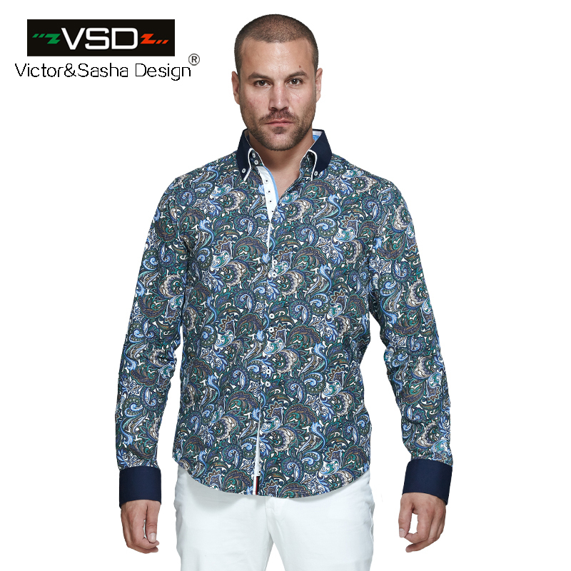 d0beaa6d086 Italian Fashion 7 Camicie Style Men s Flower Printed Shirts Long Sleeve  Men s Shirt Plus Size Euro Size Homme camiseta masculina