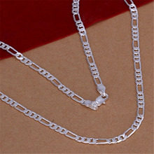N102 Free shipping Popular Beautiful fashion Elegant  silver plated  charm 4MM WOMEN LADY nice chain hot Necklace jewelry