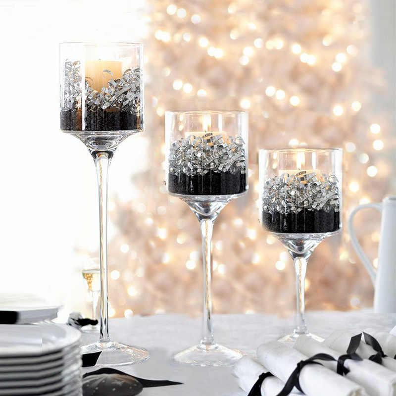 3pcs Set Crystal Candle Holder Glass Candles Candleholder Wedding