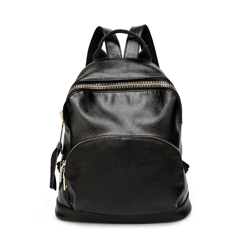 The new leather backpack leather backpack leisure fashion female dermis school wind school bags